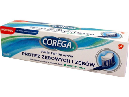 Corega 2in1 Toothpaste Washing Teeth And Denture Mint  75 ml