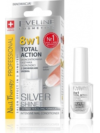 Eveline 8in1 Concentrated Nail Conditioner Silver Particles Silver Shine 12ml