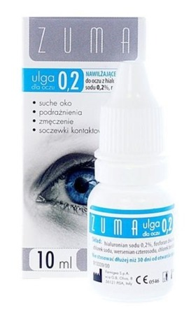 ZUMA Noka relief to eyes 0.2 Lubricant eye drops with sodium hyaluronate 0.2%